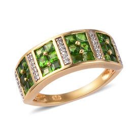 Russian Diopside and Natural Cambodian Zircon Ring in Vermeil Yellow Gold Sterling Silver 1.55 Ct.