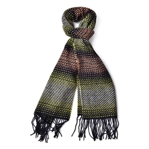 100% Wool Green, Orange and Multi Colour Stripes Pattern Scarf with Tassels (Size 180x30 Cm)