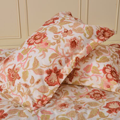 Red, Cream and Multi Colour Floral and Leaves Printed Microfiber Duvet Cover (Size 200X200 Cm), Fitted Sheet (Size 200X150 Cm) and Two Shams (Size 70X50 Cm)