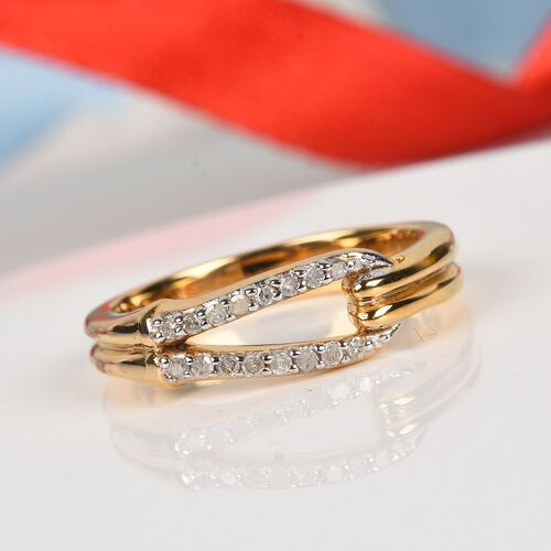 Diamond Ring in 14K Gold Overlay Sterling Silver 0.10 Ct.