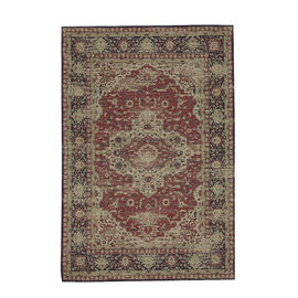 Premium Collection - Persian Style Jacquard Woven Cotton Area Rug with Blue and Multi Medallion (Siz