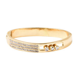 White Austrian Crystal (Rnd) Hinged Bangle (Size 6.75) in Yellow Gold Tone