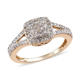 9K Yellow Gold SGL Certified Diamond (I3/G-H) Ring 0.50 Ct.