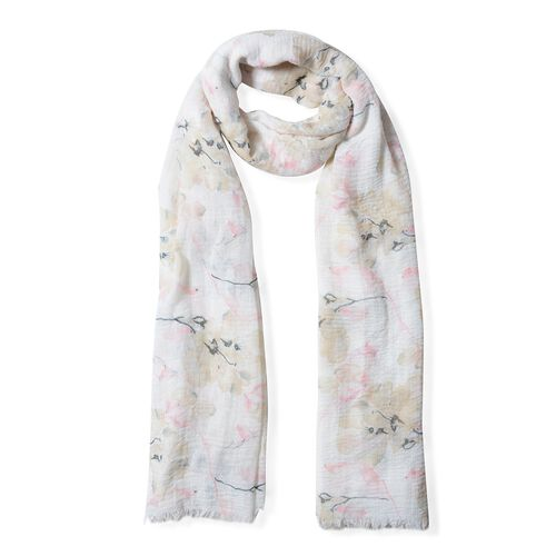 Pink and Cream Colour Big Flower Pattern Scarf (Size 180x90 Cm)