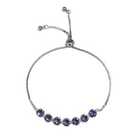 J Francis Tanzanite Colour Crystal from Swarovski Bolo Bracelet in Platinum Plated 6.5 to 9.5 Inch