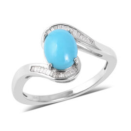 1.65 Ct Sleeping Beauty Turquoise and Diamond Bypass Ring in Rhodium Plated Sterling Silver