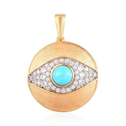 Arizona Sleeping Beauty Turquoise, Natural Cambodian Zircon Pendant in 14K Gold Overlay Sterling Sil
