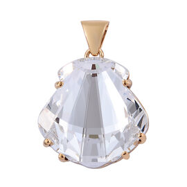 J Francis Made With Swarovski White Crystal Seashell Pendant in Sterling Silver 6.34 Grams