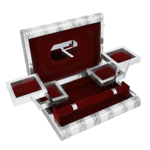 3D Embossed Collection Handcrafted Peacock Oxidised Jewellery Box (Size 27.5x19 Cm) with Mirror and Wine Red Velvet Interior