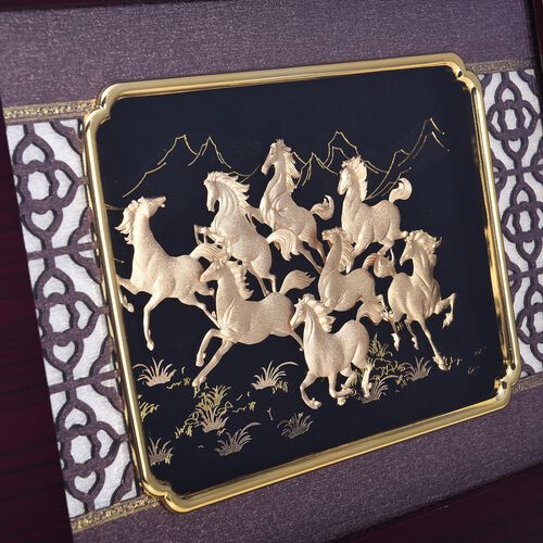 Home Decor - 24K Gold Plated Horses Wooden Frame (Size 27x34 Cm)