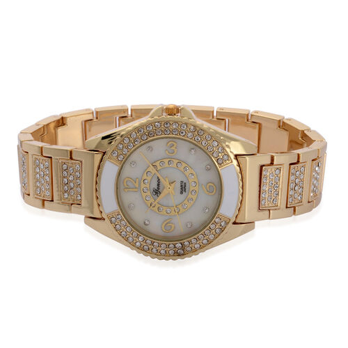 GENOA Japanese Movement White Dial White Austrian Crystal Water Resistant Watch in ION Plated Gold Strap
