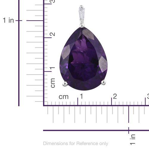 9K White Gold AAA Zambian Amethyst (Pear), Diamond Pendant 9.750 Ct.
