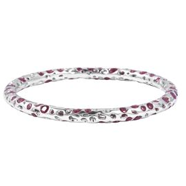 RACHEL GALLEY African Ruby (Ovl and Rnd) Bangle (Size 7) in Rhodium Overlay Sterling Silver 18.770 C