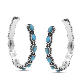 Santa Fe Collection - Turquoise Earrings (with push Back) in Rhodium Overlay Sterling Silver 1.70 Ct