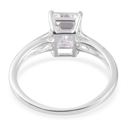J Francis Sterling Silver Solitaire Ring Made with SWAROVSKI ZIRCONIA 2.80 Ct.