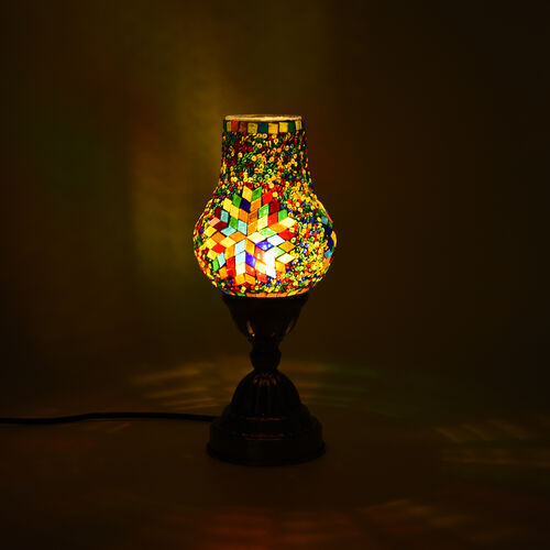 Handmade Turkish Brights Multi Colour Glass Mosaic Table Lamp with Bronze Base (Size 28x10cm)