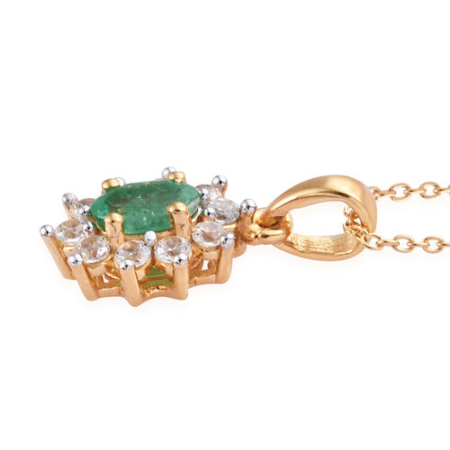 Kagem Zambian Emerald (Ovl), Natural Cambodian Zircon Pendant With Chain (Size 20) in 14K Gold Overlay Sterling Silver 1.000 Ct.