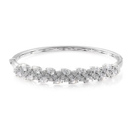 J Francis - Platinum Overlay Sterling Silver (Pear and Rnd) Bangle (Size 7.5) Made With SWAROVSKI ZIRCONIA, Silver wt 18.60 Gms