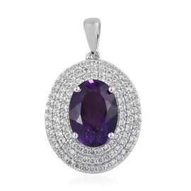 6.5 Ct Amethyst and Cambodian Zircon Halo Pendant in Platinum Plated Sterling Silver 5.09 Grams