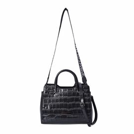 100% Genuine Leather Croc Embossed Tote Bag with Shoulder Strap (Size 28x13x21 Cm) - Black