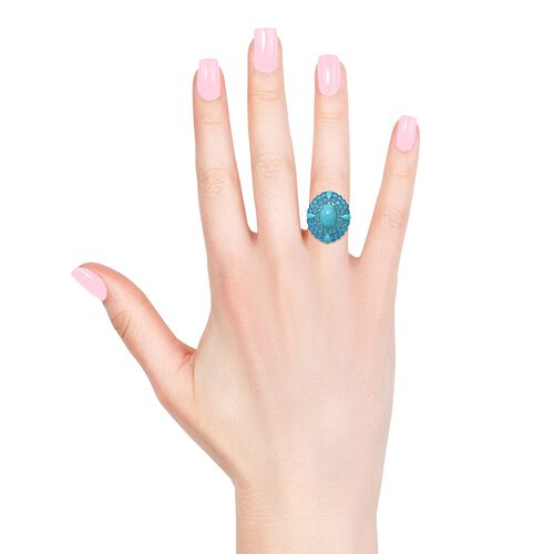 Limited Edition-  AAA Arizona Sleeping Beauty Turquoise (Ovl and Pear), AAA Malgache Neon Apatite Ring in Platinum Overlay Sterling Silver 22.000 Ct.