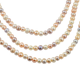 Multi Colour Freshwater Pearl Beaded Necklace in Rhodium Plated Sterling Silver 18 Inch