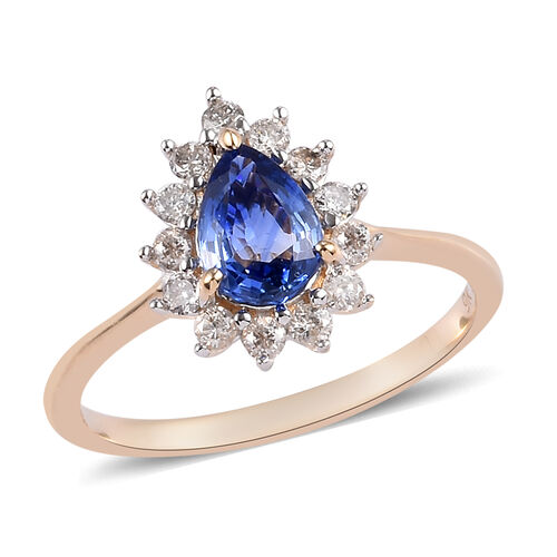 1 Carat AA Ceylon Blue Sapphire and Diamond Halo Ring in 9K Yellow Gold I3 GH