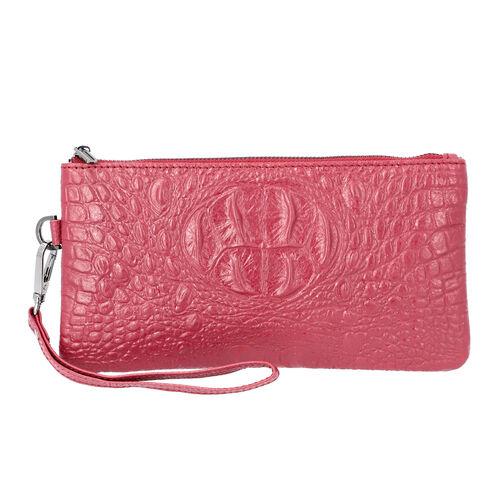 100% Genuine Leather RFID Protected Croc Embossed Wristlet (Size 20x10 Cm) - Purple