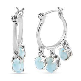 GP Itallian garden Leaf & Flower Collection- Larimar & Kanchanaburi Blue Sapphire Earrings (with Cla