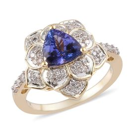 GP 1.22 Ct AA Tanzanite and MultiGemstone Lotus Ring in 9K Yellow Gold I3 GH