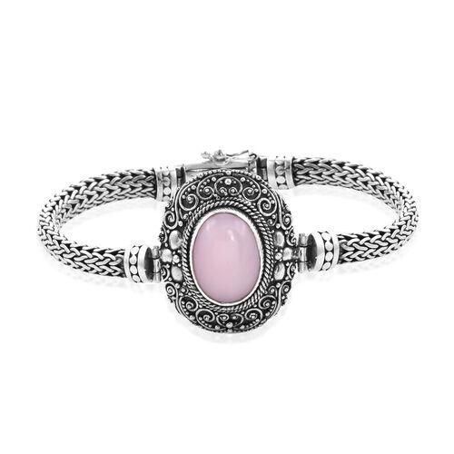 Royal Bali Pink Opal Tulang Naga Bracelet in Sterling Silver 35.55 Grams 8 Inch