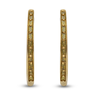 Yellow Diamond Hoop Earrings in Yellow Gold Overlay Sterling Silver 0.25 Ct.
