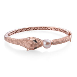 Designer Inspired-Freshwater Pink Pearl and Boi Ploi Black Spinel Panther Bangle (Size 7.5) in Rose Gold Plated