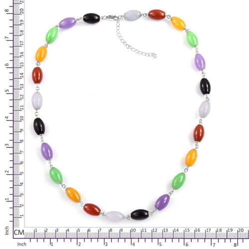 Very Rare Shape Multi Colour Jade Necklace (Size 18 with 2 inch Extender) in Rhodium Plated Sterling Silver 167.450 Ct.