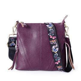 Super Soft 100% Genuine Leather Purple Colour Cross Body Bag with Adjustable and Removable Butterfly Pattern Shoulder Strap (Size 23x22x7 Cm)