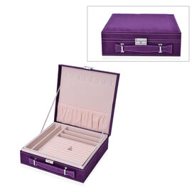 2 Tier Jewellery Box with Handle, 8 Necklace Hooks, Removable Tray, 9 Sections and Multi Storages wi