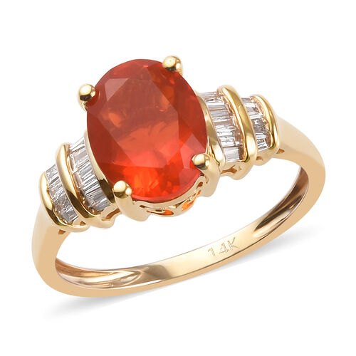 1.50 Ct AAA Jalisco Fire Opal and Diamond Solitaire Ring in 14K Yellow Gold I3 GH