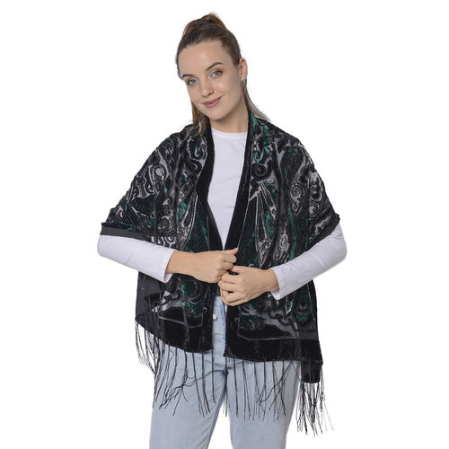 Burnout Bohemian Pattern Velvet Scarf with Fringes(50x160+15cm) - Black and Green