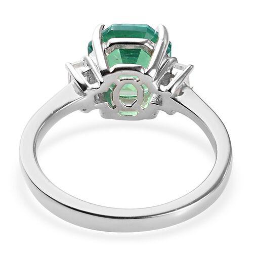 Peacock Quartz (Octillion), Natural Cambodian Zircon Ring in Platinum Overlay Sterling Silver 2.45 Ct.
