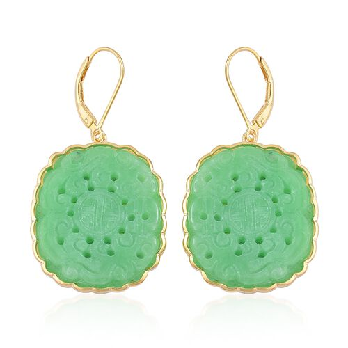 Limited Edition-Buddhist Dharma Wheel Carved Green Jade Lever Back Earrings in Yellow Gold Overlay Sterling Silver 47.000 Ct.