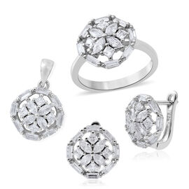 ELANZA Simulated White Diamond (Mrq) Ring, Pendant and Earrings (with Clasp) in Rhodium Plated Sterling Silver, Silver wt 7.50 Gms.