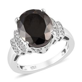 3 Carat Elite Shungite and Zircon Solitaire Design Ring in Platinum Plated Sterling Silver
