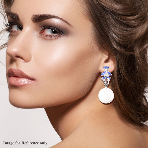 Baroque Pearl Enamelled Earrings in Rhodium Overlay Sterling Silver, Silver wt 6.37 Gms