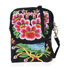 SHANGHAI  COLLECTION - Embroidered Flower and Cat Pattern Crossbody Bag with Detachable Strap and Zi