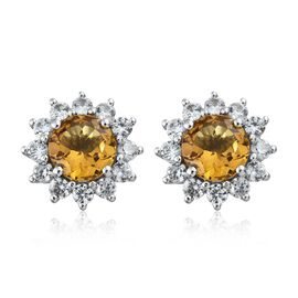 Collectors Edition- Xia Heliodor (Rnd), Natural Cambodian Zircon Stud Earrings (with Push Back) in P