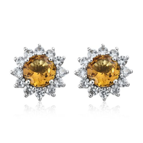 Collectors Edition- Heliodor (Rnd), Natural Cambodian Zircon Stud Earrings (with Push Back) in Plati