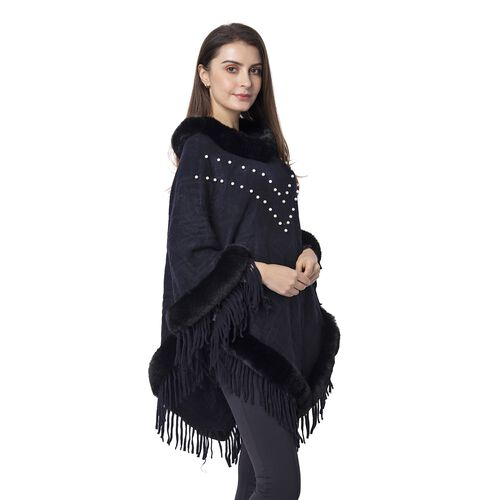 Black Colour Poncho with Faux Fur Collar with White Colour Beads (One Size)