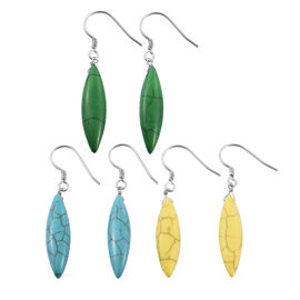 Set of 3 - Blue, Green and Yellow Howlite Hook Earrings in Sterling Silver