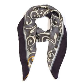LucyQ 100% Mulberry Silk Digitally Printed Eclipse Square Scarf (Size 100x100 Cm)