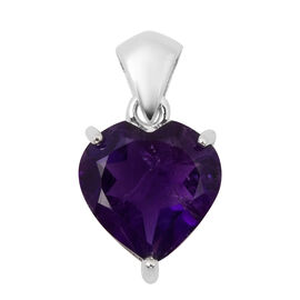 4.75 Ct Zambian Amethyst Solitaire Heart Pendant in Rhodium Plated Sterling Silver